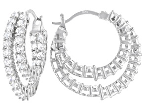 White Cubic Zirconia Rhodium Over Sterling Silver Earrings 4.03ctw