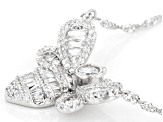 White Cubic Zirconia Rhodium Over Sterling Silver Bee Necklace 2.79ctw