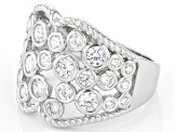 White Cubic Zirconia Rhodium Over Sterling Silver Ring 2.42ctw