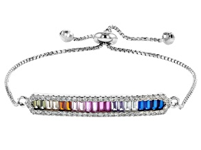 Multi Color Cubic Zirconia Rhodium Over Sterling Silver Adjustable Bracelet 2.44ctw