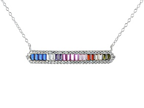 Multi Color Cubic Zirconia Rhodium Over Sterling Silver Necklace 2.44ctw