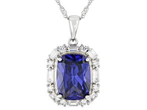 Blue And White Cubic Zirconia Rhodium Over Sterling Silver Pendant With Chain 9.68ctw