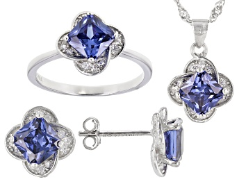 Picture of Blue And White Cubic Zirconia Rhodium Over Sterling Silver Jewelry Set 6.13ctw