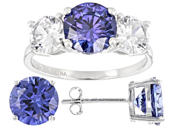 Picture of Blue And White Cubic Zirconia Rhodium Over Sterling Silver Ring and Earrings 11.50ctw