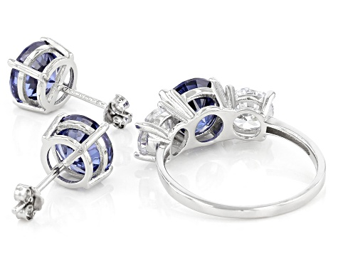 Blue And White Cubic Zirconia Rhodium Over Sterling Silver Ring and Earrings 11.50ctw