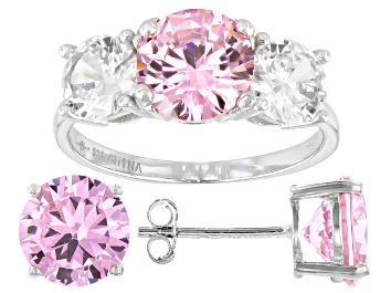 Picture of Pink And White Cubic Zirconia Rhodium Over Sterling Silver Ring And Earrings 11.50ctw