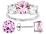 Pink And White Cubic Zirconia Rhodium Over Sterling Silver Ring And Earrings 11.50ctw