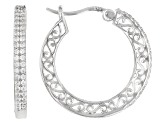 White Cubic Zirconia Rhodium Over Sterling Silver Hoop Earrings 0.88ctw