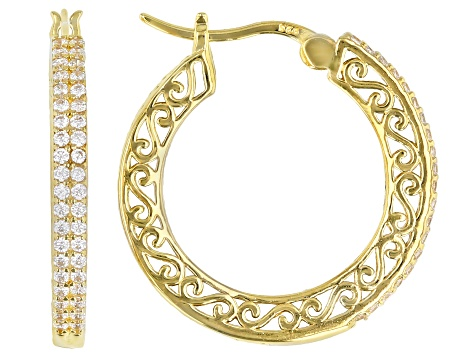 White Cubic Zirconia 18K Yellow Gold Over Sterling Silver Hoop Earrings 0.88ctw