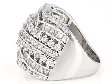White Cubic Zirconia Rhodium Over Sterling Silver Ring 3.23ctw