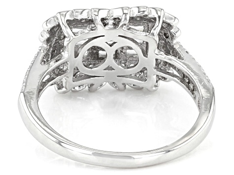 White Cubic Zirconia Rhodium Over Sterling Silver Ring 1.36ctw