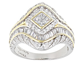 White Cubic Zirconia Rhodium Over And 14k Yellow Gold Over Sterling Silver Ring 2.50ctw