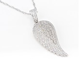 White Cubic Zirconia Rhodium Over Sterling Silver Angel Wing Pendant With Chain 2.41ctw