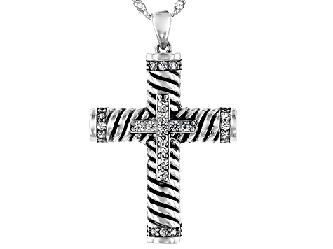 White Cubic Zirconia Rhodium Over Sterling Silver Cross Pendant With Chain 0.85ctw