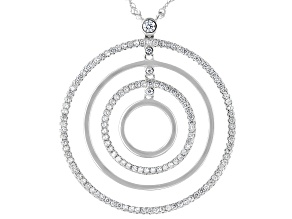 White Cubic Zirconia Rhodium Over Sterling Silver Necklace 1.05ctw