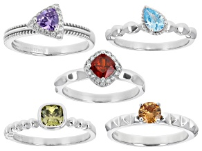 Multi Color Cubic Zirconia Rhodium Over Sterling Silver Ring Set of 5