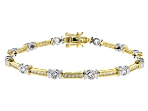 White Cubic Zirconia Rhodium and 18K Yellow Gold Over Sterling Silver Bracelet 3.61ctw