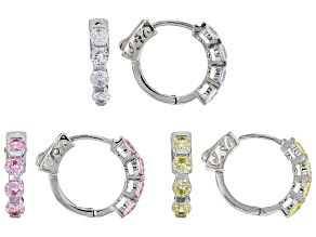 White, Pink, And Yellow Cubic Zirconia Rhodium Over Sterling Silver Hoop Earrings Set of 3 7.68ctw