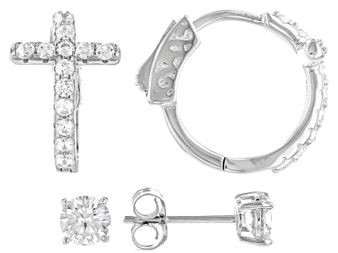 White Cubic Zirconia Rhodium Over Sterling Silver Cross Hoop And Stud Earring Set 2.35ctw