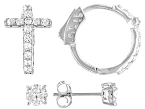 White Cubic Zirconia Rhodium Over Sterling Silver Cross Hoop And Stud Earring Set 2.34ctw