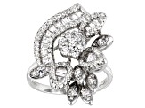 White Cubic Zirconia Rhodium Over Sterling Silver Ring 1.93ctw