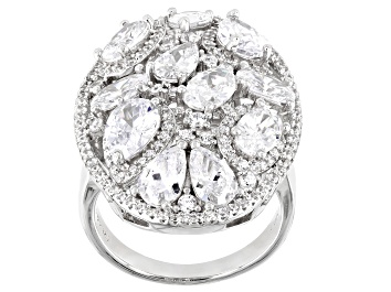Picture of White Cubic Zirconia Rhodium Over Sterling Silver Ring 8.28ctw