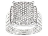 White Cubic Zirconia Rhodium Over Sterling Silver Ring 1.25ctw