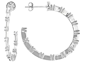 White Cubic Zirconia Rhodium Over Sterling Silver Hoop Earrings 3.10ctw