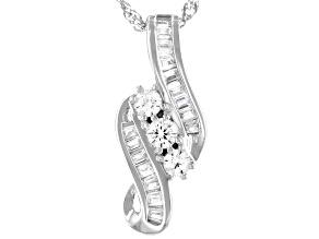 White Cubic Zirconia Rhodium Over Sterling Silver Pendant With Chain 0.91ctw