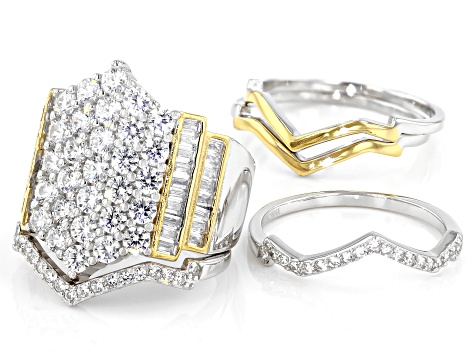 White Cubic Zirconia Rhodium And 14K Yellow Gold Over Sterling Silver Stackable Ring 4.87ctw