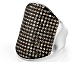 Champagne Cubic Zirconia Rhodium Over Sterling Silver Ring 2.28ctw