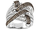 Champagne And White Cubic Zirconia Rhodium Over Sterling Silver Ring 2.84ctw