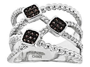 Mocha And White Cubic Zirconia Rhodium Over Sterling Silver Ring 0.69ctw