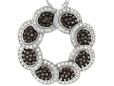 Brown And White Cubic Zirconia Rhodium Over Sterling Silver Pendant With Chain 2.04ctw