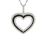 Brown And White Cubic Zirconia Rhodium Over Sterling Silver Heart Pendant With Chain 1.37ctw