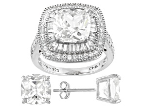 White Cubic Zirconia Rhodium Over Sterling Silver Ring and Earrings 12.47ctw