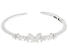 White Cubic Zirconia Rhodium Over Sterling Silver Butterfly Bracelet 1.51ctw