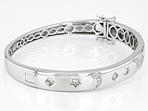 White Cubic Zirconia Rhodium Over Sterling Silver Moon And Star Bracelet 1.63ctw