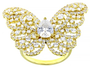 White Cubic Zirconia 18K Yellow Gold Over Sterling Silver Butterfly Ring 4.55ctw