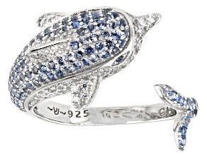Blue And White Cubic Zirconia Rhodium Over Sterling Silver Dolphin Ring 1.70ctw