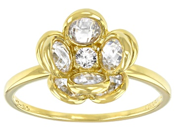 Picture of White Cubic Zirconia 18K Yellow Gold Over Sterling Silver Flower Ring 3.75ctw