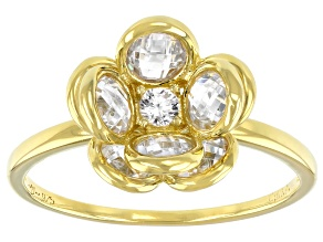 White Cubic Zirconia 18K Yellow Gold Over Sterling Silver Flower Ring 3.75ctw