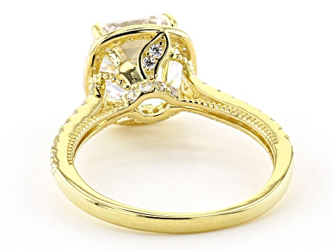White Cubic Zirconia 18K Yellow Gold Over Sterling Silver Asscher Cut Ring 4.35ctw