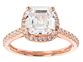 White Cubic Zirconia 18K Rose Gold Over Sterling Silver Asscher Cut Ring 4.35ctw