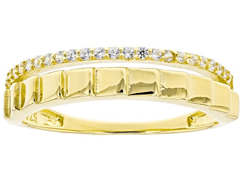 White Cubic Zirconia 18K Yellow Gold Over Sterling Silver Band Ring 0.22ctw