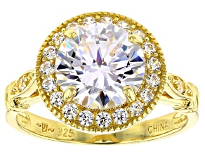 White Cubic Zirconia 18K Yellow Gold Over Sterling Silver Ring 4.66ctw