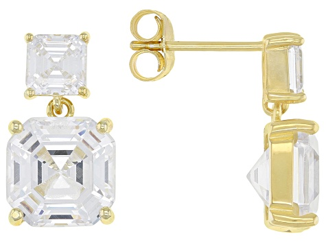 White Cubic Zirconia 18K Yellow Gold Over Sterling Silver Asscher Cut Earrings 11.52ctw