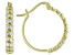 White Cubic Zirconia 18K Yellow Gold Over Sterling Silver Hoop Earrings 1.36ctw