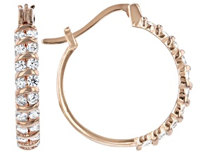 White Cubic Zirconia 18K Rose Gold Over Sterling Silver Hoop Earrings 1.36ctw