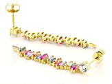 Multi Color Cubic Zirconia And Red Lab Created Ruby 18K Yellow Gold Over Silver Earrings 3.95ctw